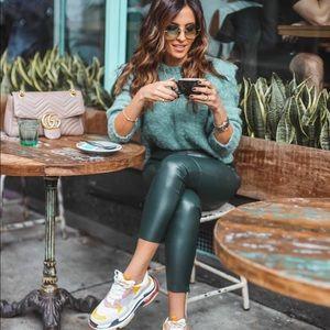 Zara Green Faux Leather Leggings